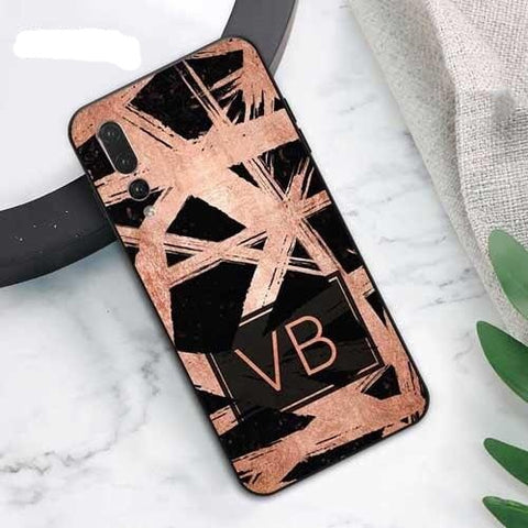 Personalised Marble Black & Rose Gold Phone Case for Huawei - Case Monkey