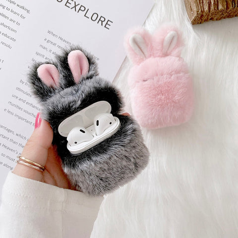 Cute Fluffy Rabbit Ears Case Cover For Apple Airpods - Case Monkey