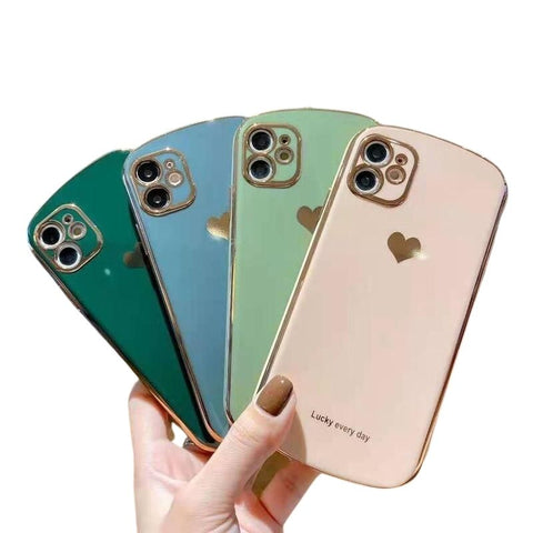 Shiny Plated Love Heart Phone Case For iPhone - Case Monkey