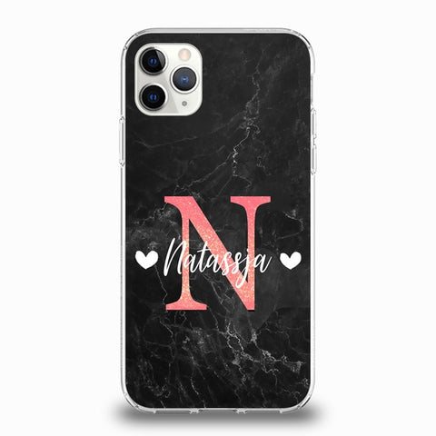 Marble Effect Black With Pink Initial Phone Case For iPhone - Case Monkey