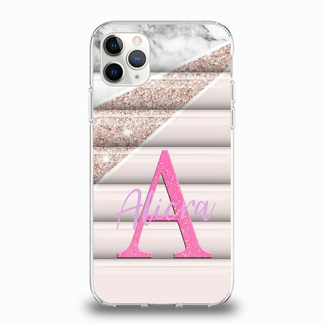 Marble & Pattern Design Personalised Phone Case For iPhone - Case Monkey