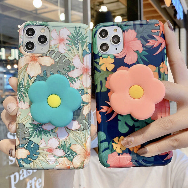 Vintage Flower Leaves Phone Case With PopSocket For iPhone - Case Monkey