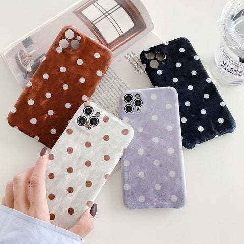 Luxury Velvet Plush Polka Dot Phone Case For iPhone - Case Monkey
