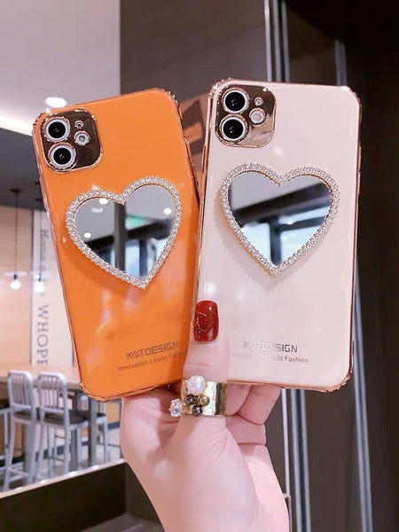 Luxury 3D Plated Love Heart Makeup Mirror Phone Case For iPhone - Case Monkey