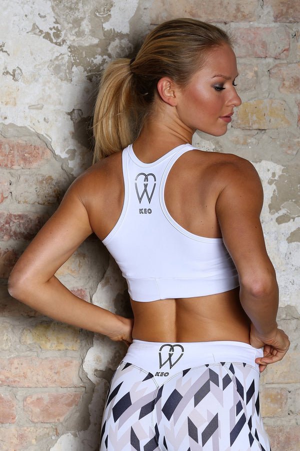 White sports bra - KEO Fitness Ireland