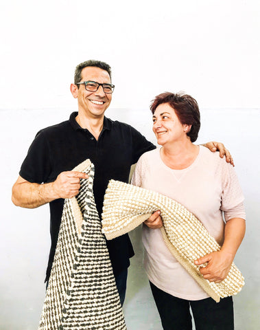 Rui and Fernanda, the talented couple behind the small family-owned mill that weaves Casa Cubista's rugs