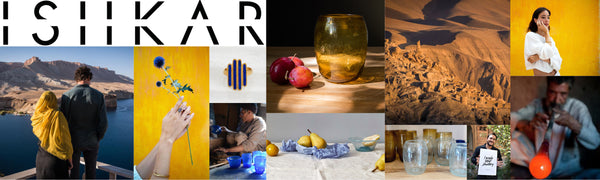 Ishkar logo and product images collaged