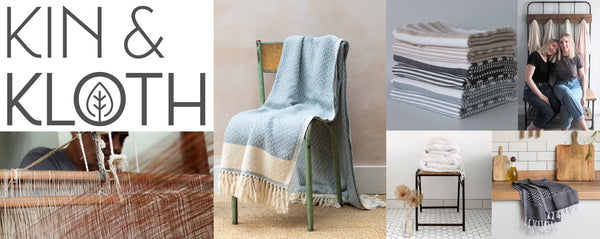 collaged image of Kin & Kloth founders, logo and products