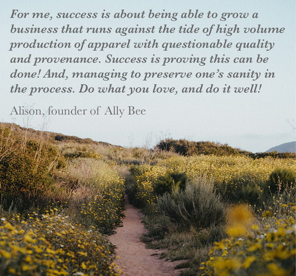 quote about success from Alison, founder of Ally Bee on a background image of a cross country path in sunshine
