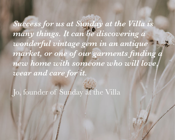 quote on success by Jo, founder of Sunday at the Villa on a background image of beige grasses in a sunlit field