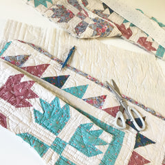 cutting the kimono from a vintage patchwork quilt
