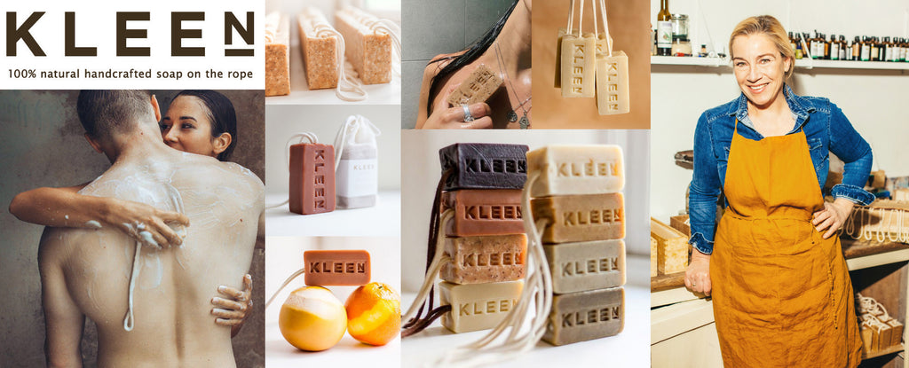A montage of Kleensoap's products, logo and portrait of founder, Jutta
