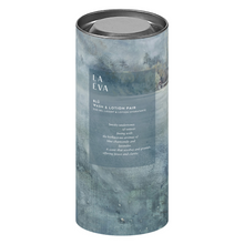 Load image into Gallery viewer, LA-EVA BLÜ wash and lotion pair in cylindrical gift box against white background