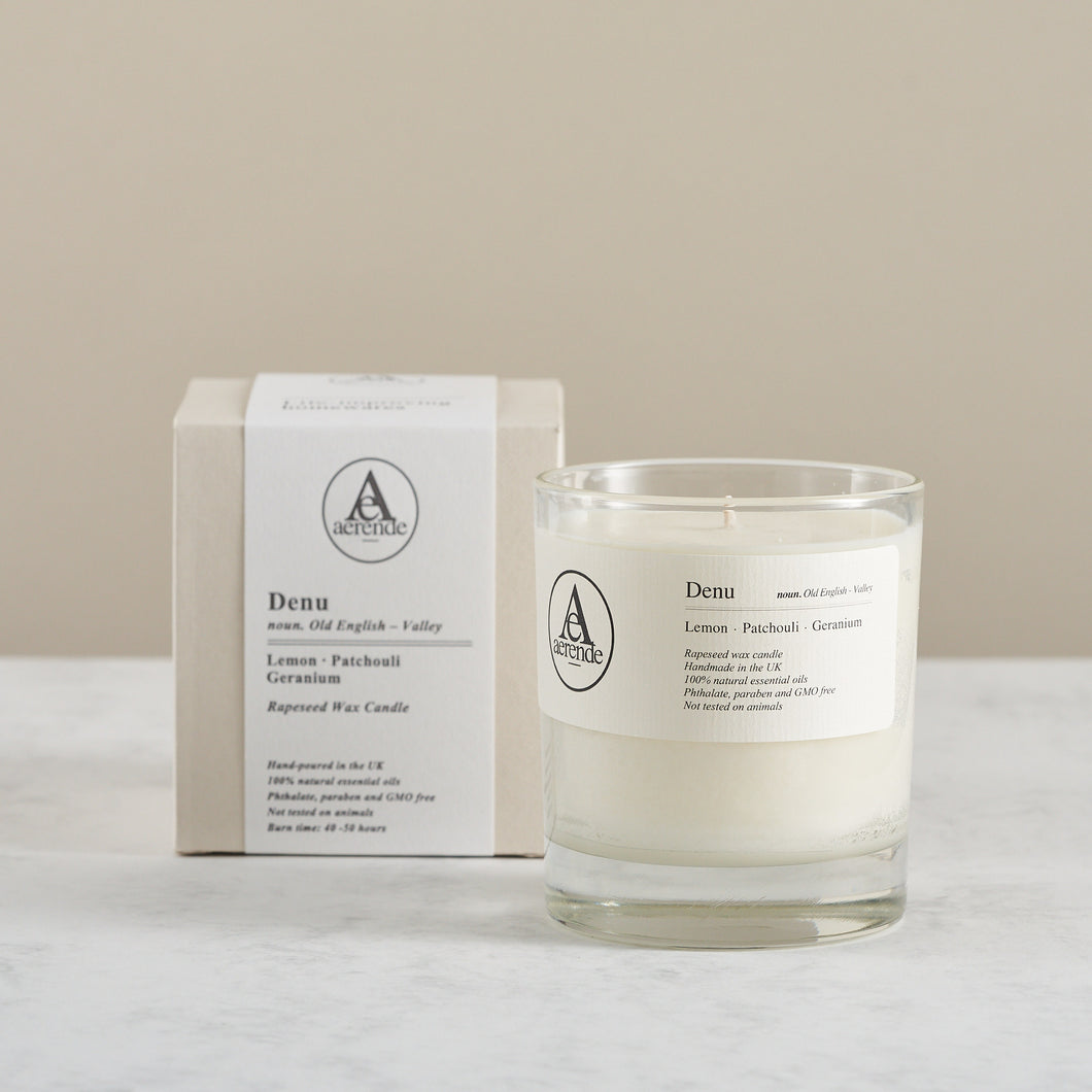 Scented Rapeseed Wax Candle, 'Denu'