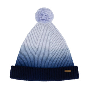 Thread Tales recycled cashmere bobble hat in blue against white background
