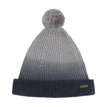Load image into Gallery viewer, Thread Tales recycled cashmere bobble hat in grey against white background