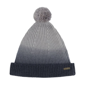 Thread Tales recycled cashmere bobble hat in grey against white background