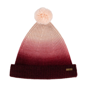 Thread Tales recycled cashmere bobble hat in red against white background