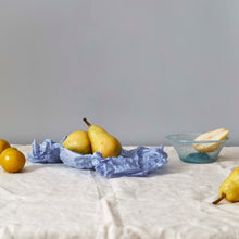 Load image into Gallery viewer, Pears, Ishkar's aqua handblown bowl and scrunched blue paper on cream cloth