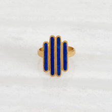 Load image into Gallery viewer, Ishkar's gold-plated and lapis lazuli Four Rivers ring on a white background