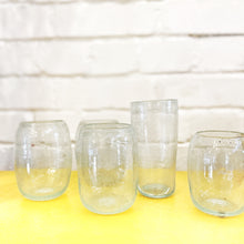 Load image into Gallery viewer, Ishkar handblown aqua tumblers on yellow worktop with white painted brick background