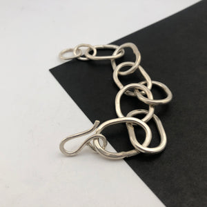 Heavy chain bracelet, handmade in recycled silver