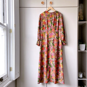 Fruits and flowers, midaxi vintage silk dress