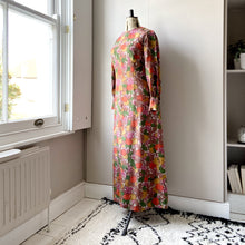 Load image into Gallery viewer, Fruits and flowers, midaxi vintage silk dress