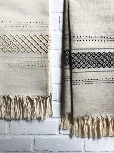 Natural linen handtowels with black and white embroidery