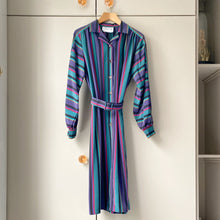 Load image into Gallery viewer, Striped and belted vintage dress