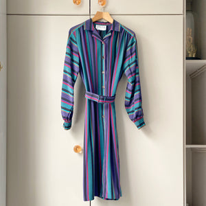 Striped and belted vintage dress