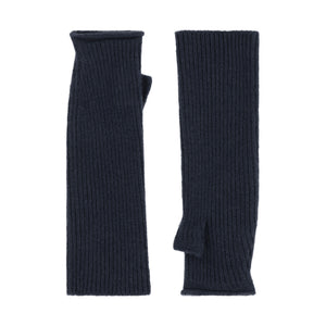 Thread Tales longline recycled cashmere mittens in grey on a white background