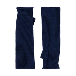 Thread Tales longline recycled cashmere mittens in blue on a white background