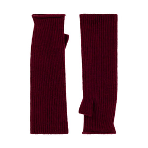 Thread Tales longline recycled cashmere mittens in red on a white background