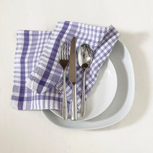 Load image into Gallery viewer, Vintage lavender and white napkins, set of 3