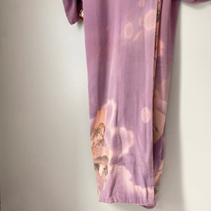 Vintage full-length kimono with border design and contrast colour lining