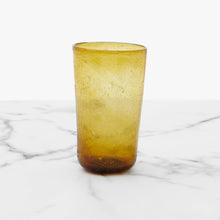 Load image into Gallery viewer, Ishkar tall gold handblown tumbler with white background