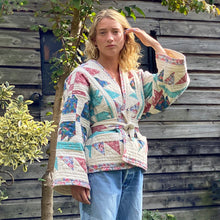 Load image into Gallery viewer, Blonde lady in Sunday at the Villa's Kitty quilted kimono jacket