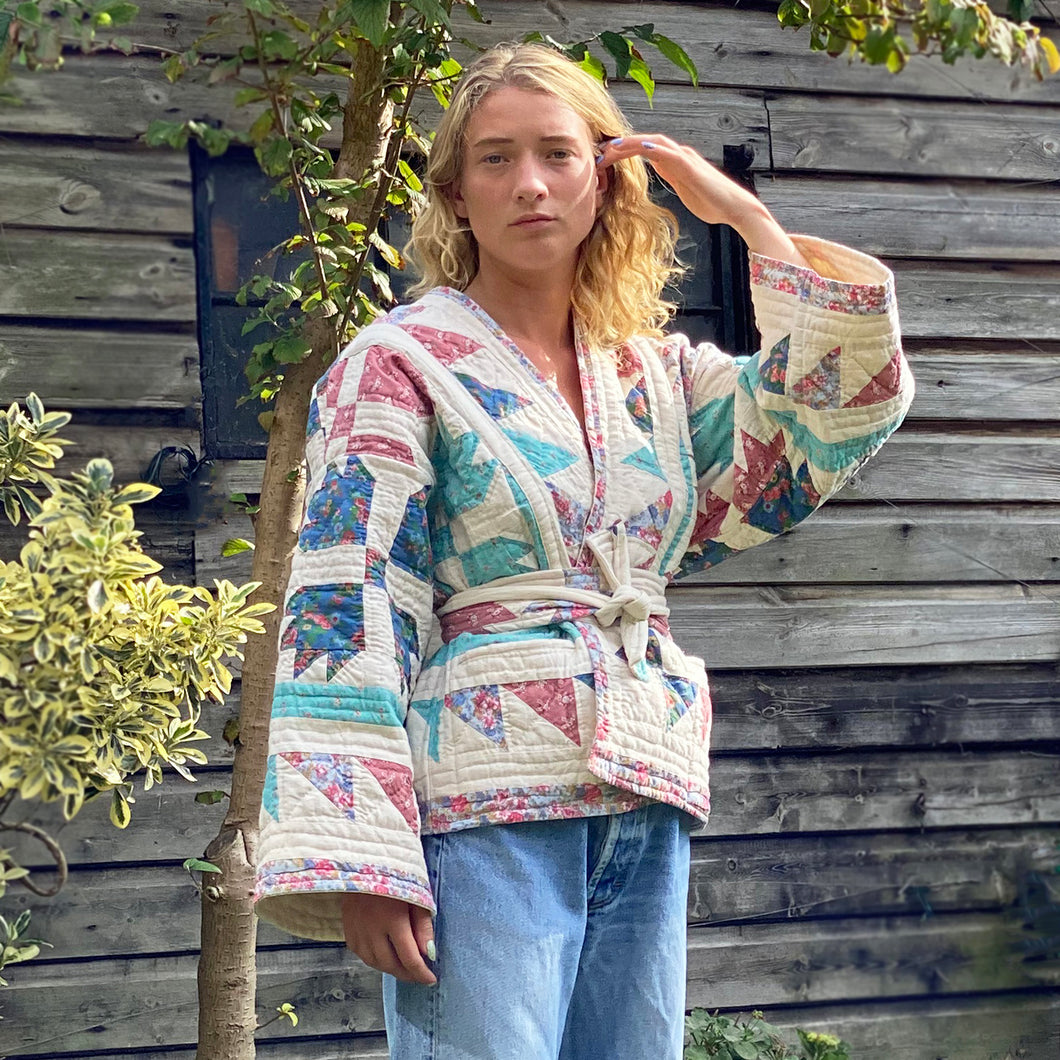 Blonde lady in Sunday at the Villa's Kitty quilted kimono jacket