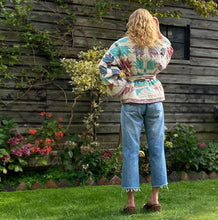 Load image into Gallery viewer, Back view of Sunday at the Villa's Kitty quilted kimono jacket