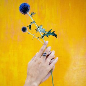 A hand with Ishkar's Four Rivers ring on the middle finger holds up a blue flower against a mustard yellow background