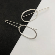 Load image into Gallery viewer, Oval threader earrings, handmade in recycled silver