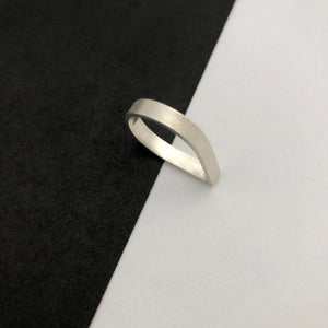 Teardrop ring, handmade in recycled silver