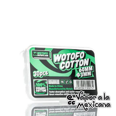 Agleted Organic Cotton 3mm 30PCS | Wotofo | Vapor a la Mexicana