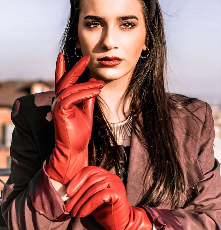 Harssidanzar-Womens-Luxury-Italian-Sheepskin-Leather-Gloves-Cashmere-Lined-red