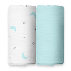 Moon & Blue Swaddles 2 Pcs