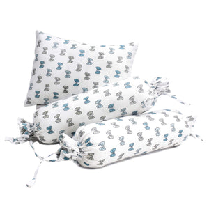 Blue Bow Design Boys Bolster Pillow Set