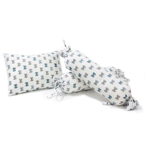 Blue Bow Bolster  Pillow Set 1 Pcs