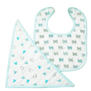 Blue Heart Design Boys 2 pc Feeding Bibs Set