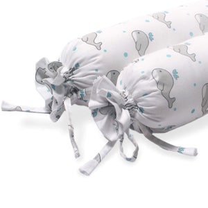 Grey Whale With Blue Dots Baby Bolster Pillow Set